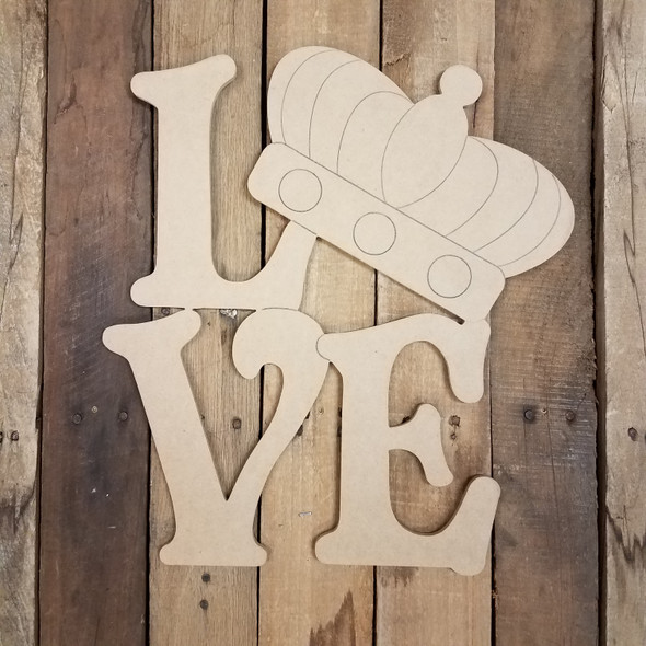 Love Beltorian Letter Mardi Gras Crown Shape, Paint by Line