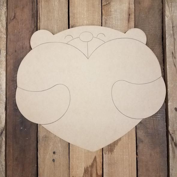 Bear Hug With Heart Wood Cutout, Paint by Line
