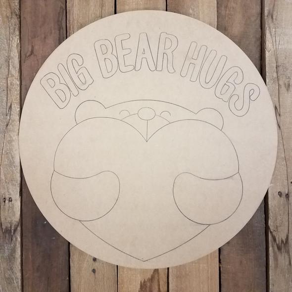 Bear Hug With Heart Circle Wood Cutout, Paint by Line