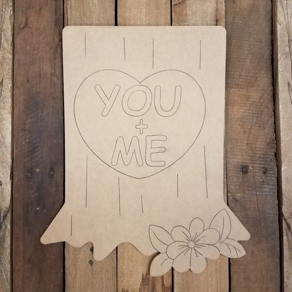 You and Me Valentine Tree Stump Wood Cutout, Paint by Line