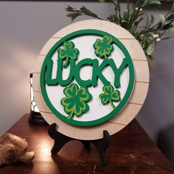 Lucky Clovers Stackable Circle Easel Kit, Engraved DIY Craft Decor Set
