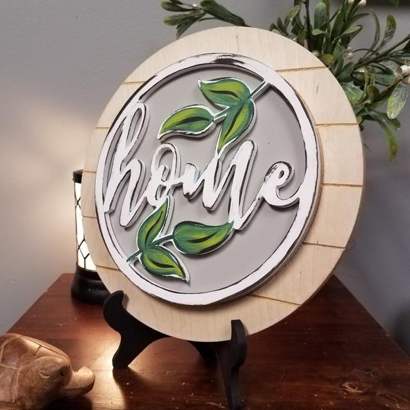 Home Floral Stackable Circle Easel Kit, Engraved DIY Craft Decor Set
