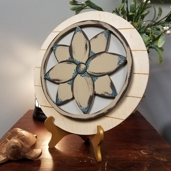 Flower Stackable Circle Easel Kit, Engraved DIY Craft Decor Set