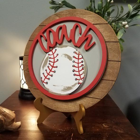 Baseball Softball Coach Stackable Circle Easel Kit, Engraved DIY Craft Decor Set