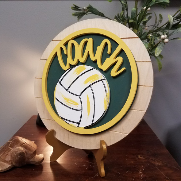 Volleyball Coach Stackable Circle Easel Kit, Engraved DIY Craft Decor Set