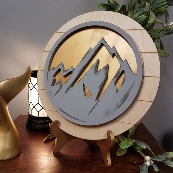 Mountain Art Unfinished Stackable Circle Easel Kit, Engraved DIY Craft Decor Set