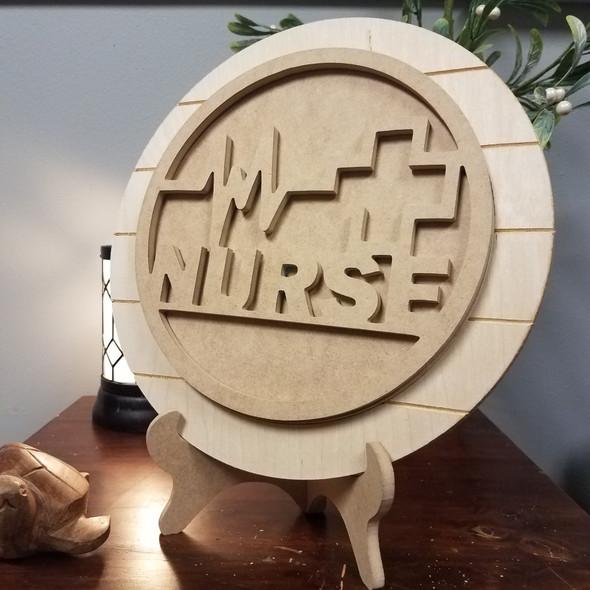 Nurse Medical Unfinished Stackable Circle Easel Kit, Engraved DIY Craft Decor Set