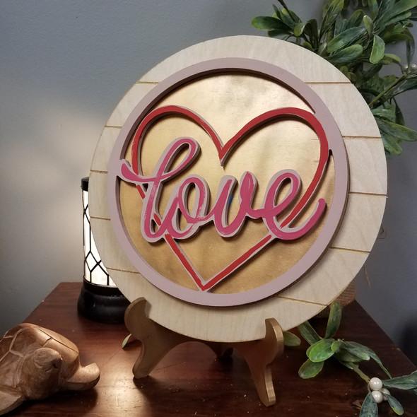 Love Heart Valentine Unfinished Stackable Circle Easel Kit, Engraved DIY Craft Decor Set