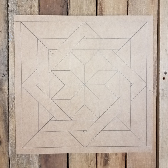 Woven Geometric Art Design Square, Unfinished Wood Shape