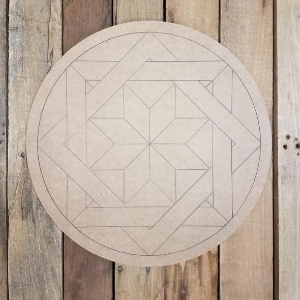 Woven Geometric Art Design Circle, Unfinished Wood Shape