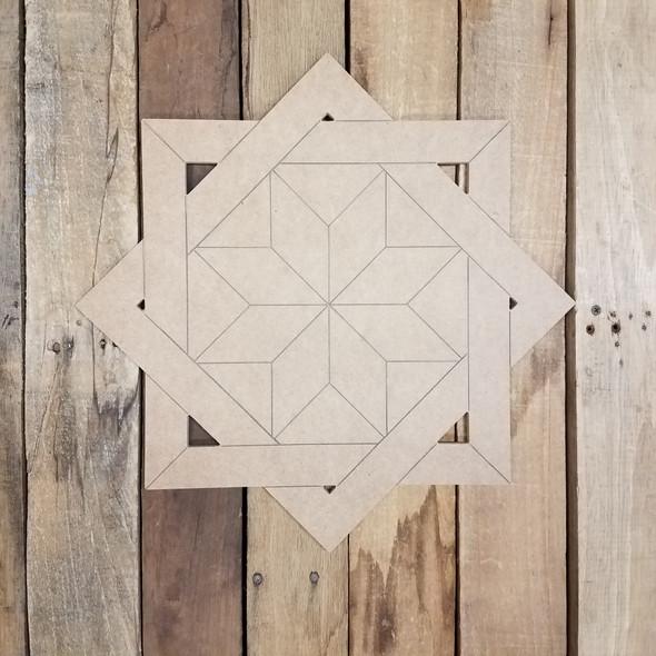 Woven Lattice Geometric Art Design Square, Unfinished Wood Shape