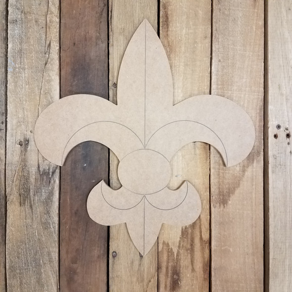 Decorative Fleur De Lis, Wood Cutout, Shape, Paint by Line WS