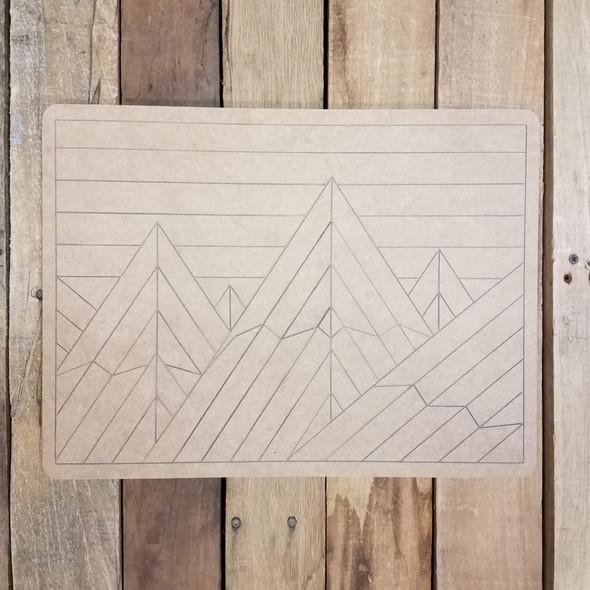 Geometric Mountain Range Rectangle, Unfinished Wood Shape