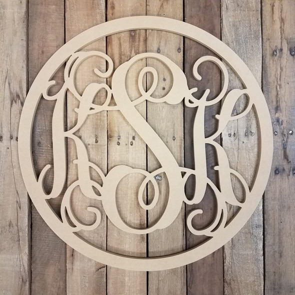 Unfinished Wooden 3-Letter Vine with Circle Frame Personalize Custom Monogram Wall Decor