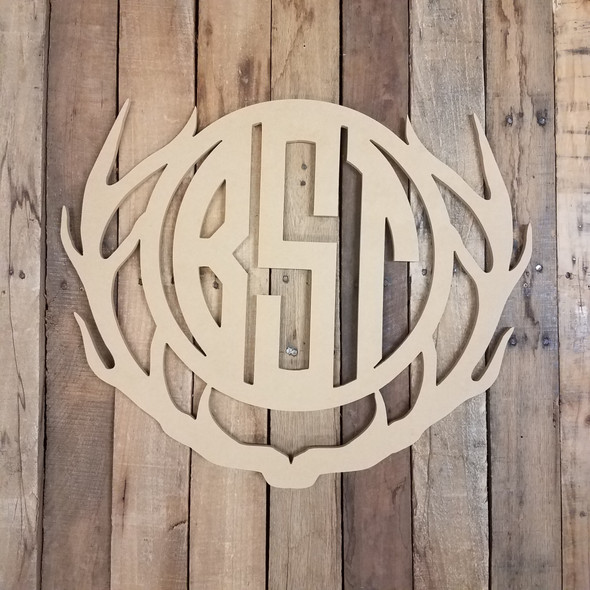 Unfinished Wooden Antler Circle Vine 3 Letter Monogram