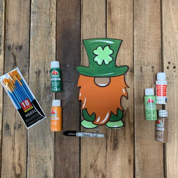 St. Patrick's Leprechaun Gnome Paint Kit, DIY Wood Cutout, Video Tutorial and Instructions