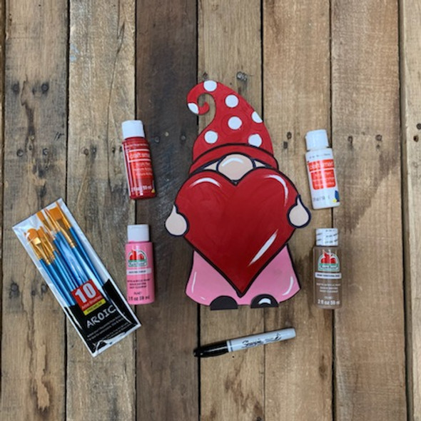 Gnome Holding Heart Valentine's Paint Kit, DIY Wood Cutout, Video Tutorial and Instructions