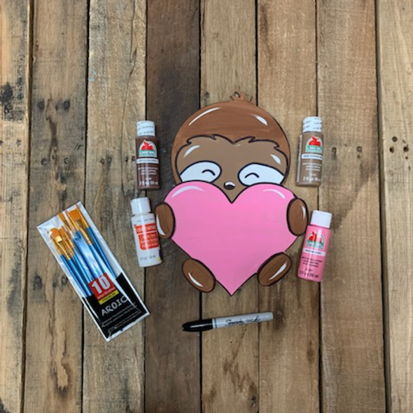 Sloth Holding Heart Valentine's Paint Kit, DIY Wood Cutout, Video Tutorial and Instructions