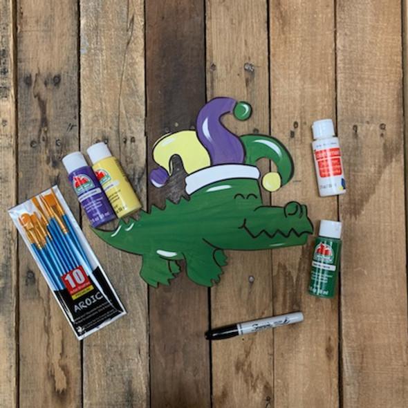 Mardi Gras Gator Paint Kit, DIY Wood Cutout, Video Tutorial and Instructions