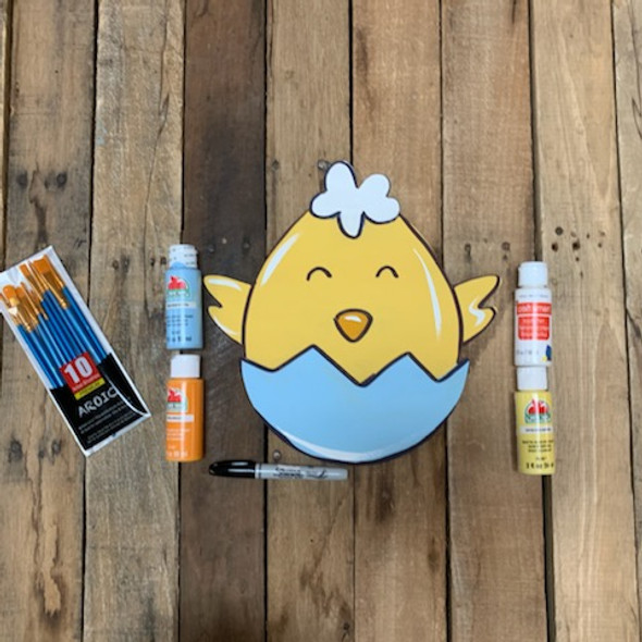 Hatching Chick Easter Paint Kit, DIY Wood Cutout, Video Tutorial and Instructions