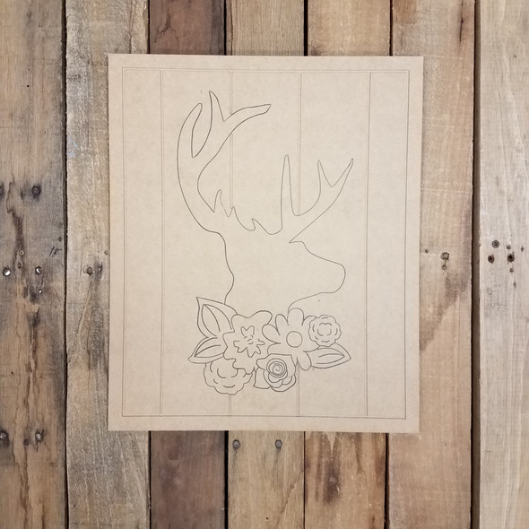 Deer Head with Floral Cluster on Beaded Board, Wood Cutout, Paint by Line