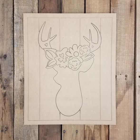 Buck Silhouette with Floral Cluster on Beaded Board, Wood Cutout, Paint by Line