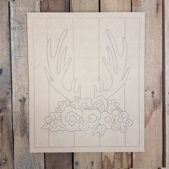 Elk Antlers with Flowers on Beaded Board, Wood Cutout, Paint by Line