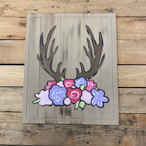 Floral Deer Antler on Beaded Board, Wood Cutout, Paint by Line