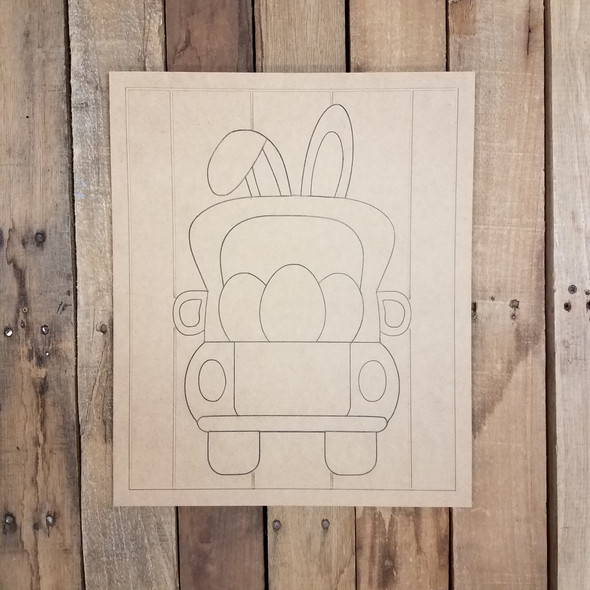 Easter Egg Bunny Truck on Beaded Board, Unfinished Wood Shape