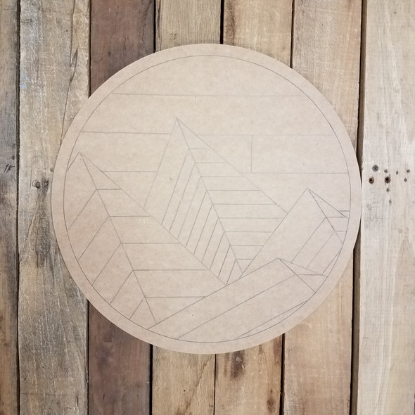 Abstract Mountain Range Geometric Art Circle, Unfinished Wood Shape, Paint by Line