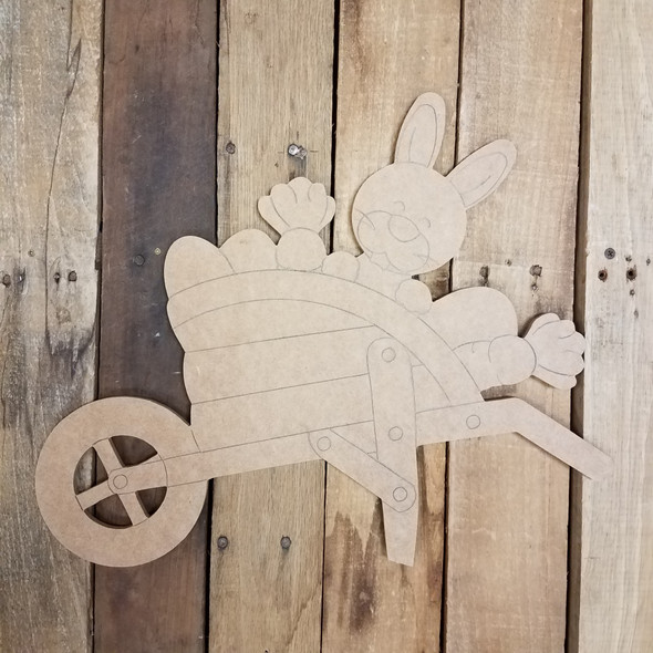 Easter Bunny Wheelbarrow,  Wood Cutout, Shape, Paint by Line