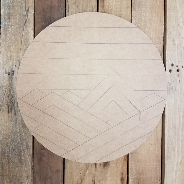 Mountain Range Art Circle, Unfinished Wood Shape, Paint by Line