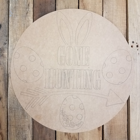 Gone Hunting Easter Egg Circle, Unfinished Wood Shape, Paint by Line