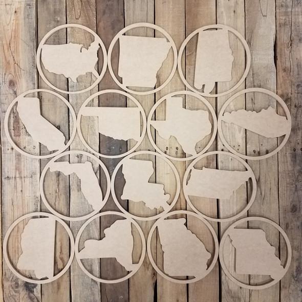 State Shape Unfinished Circle Easel Kit, Engraved DIY Craft Decor Set