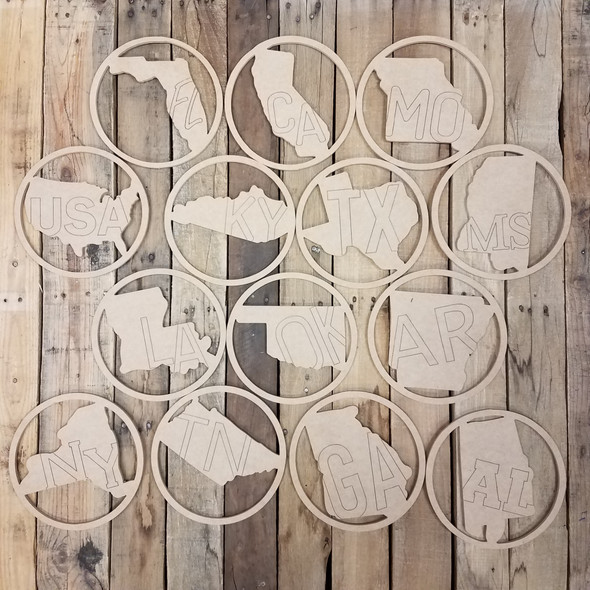 State Abbreviation Shape Unfinished Circle Easel Kit, Engraved DIY Craft Decor Set