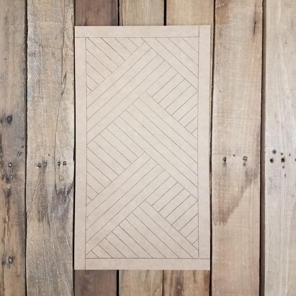 Geometric Art Weave Pattern Rectangle, Boho Style Unfinished Wood Shape Paint by Line