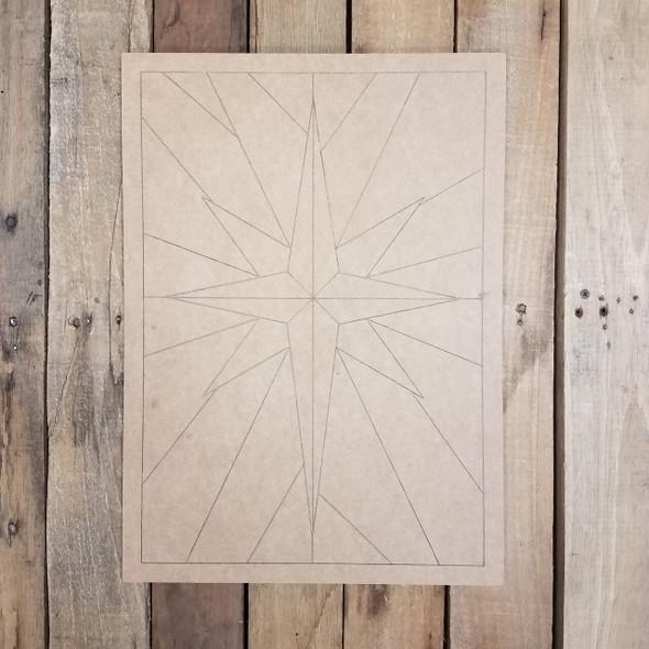 Geometric Art Starburst Pattern Rectangle, Boho Style Unfinished Wood Shape Paint by Line