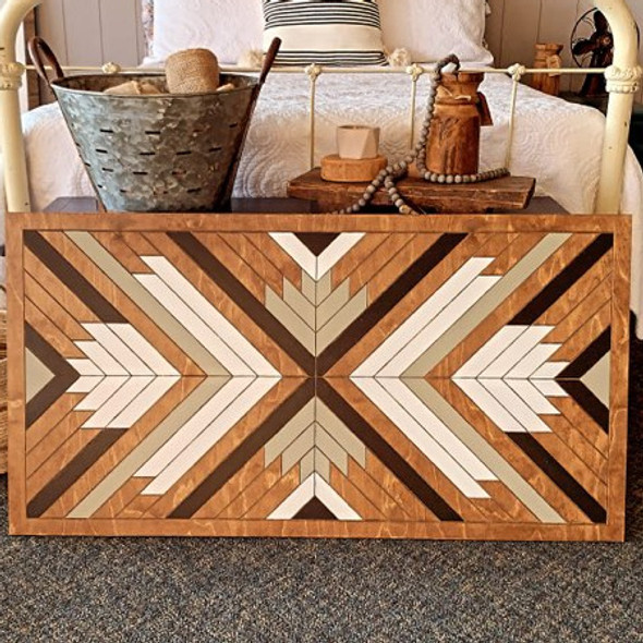 Boho DIY Geometric Art Rectangle, Unfinished Wood Shape Paint by Line