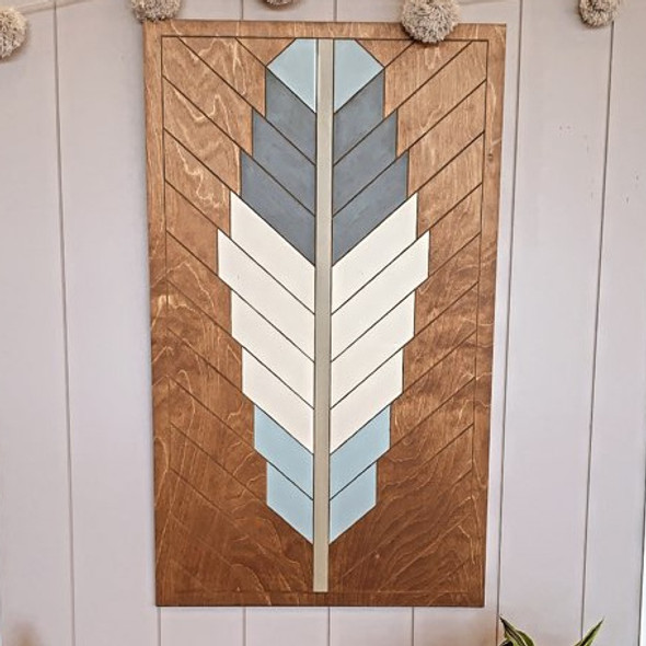 Boho Geometric Feather Rectangle, Unfinished Pine Wood Shape Paint by Line