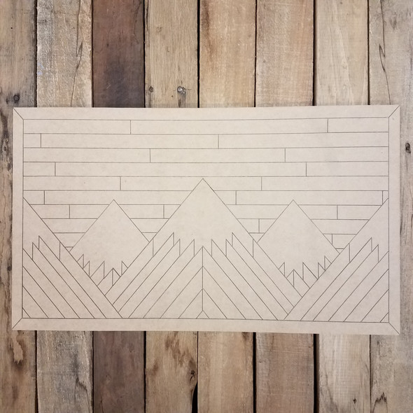 Mountain Range Rectangle, Boho Style Unfinished Wood Shape, Paint by Line