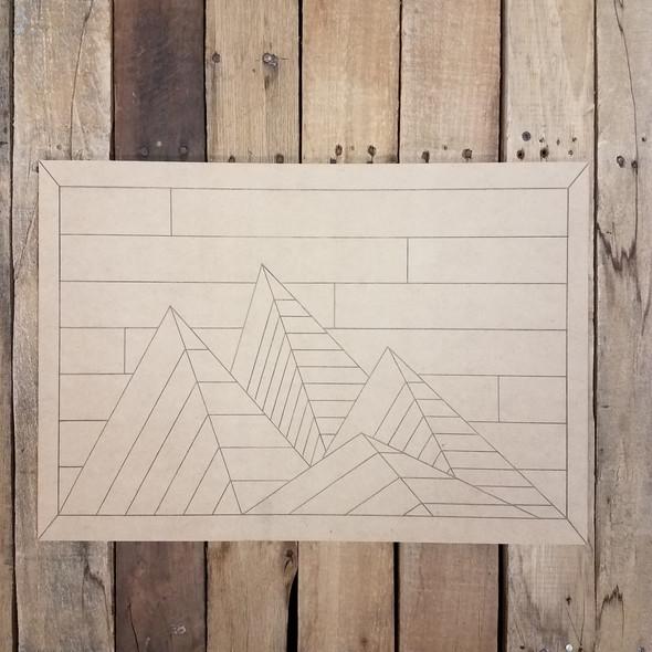 Boho Style Mountain Decor Rectangle, Unfinished Wood Shape, Paint by Line