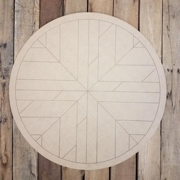 Geometric Art Circle Wall Decor, Boho Style Unfinished Wood Shape