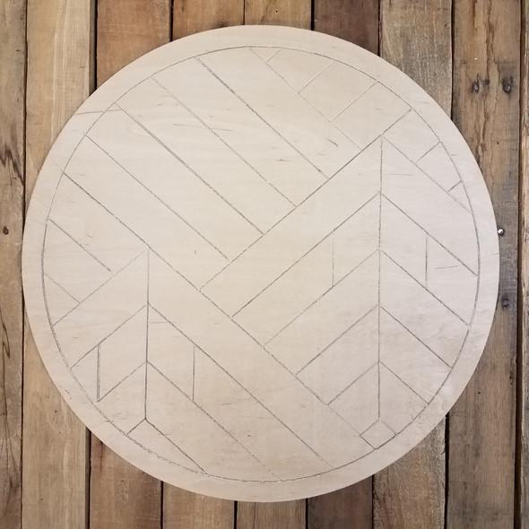 Boho Geometric Mountain Art Circle, Unfinished Pine Shape Paint by Line