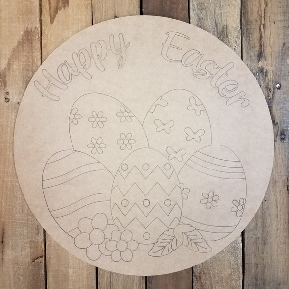 Happy Easter Eggs Circle,  Wood Cutout, Shape, Paint by Line