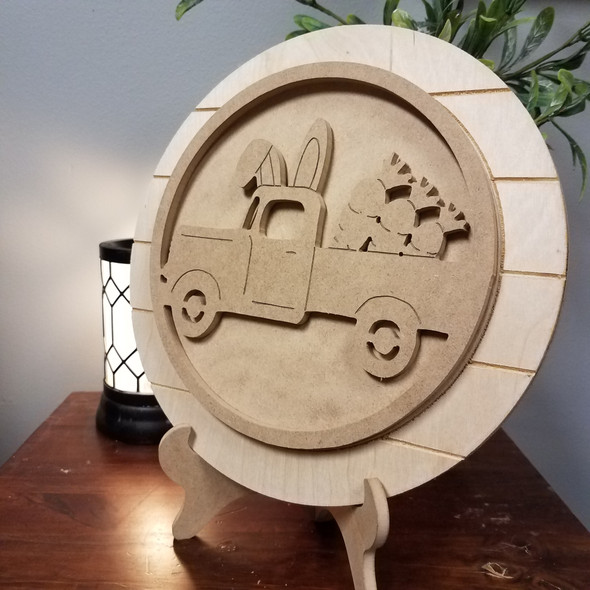 Bunny Carrot Truck Circle Easel Kit Unfinished Display