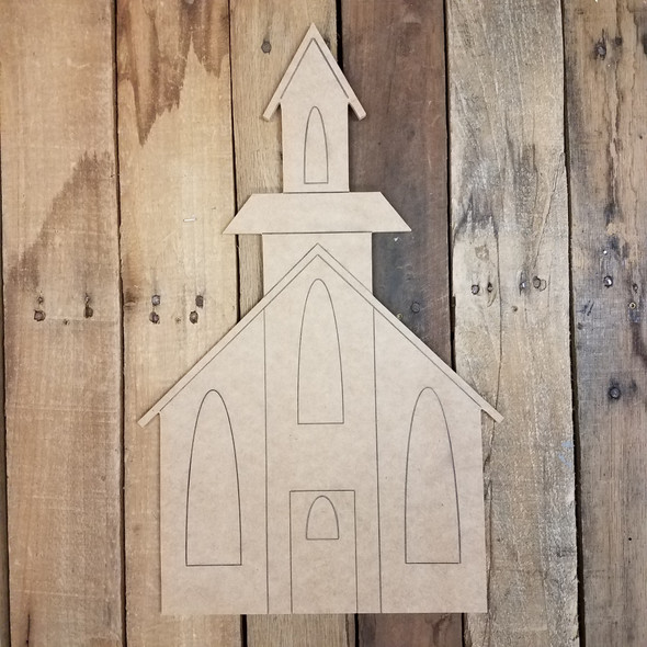 Country Church Wall Art Shape, Unfinished Craft, Paint by Line