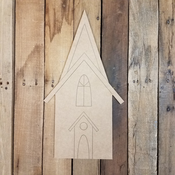 Tall Church Wall Art Shape, Unfinished Craft, Paint by Line