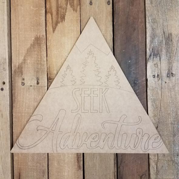 Seek Adventure Triangle Wooden Sign