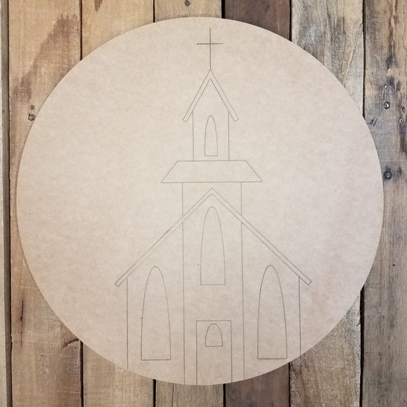 Country Church Circle on MDF