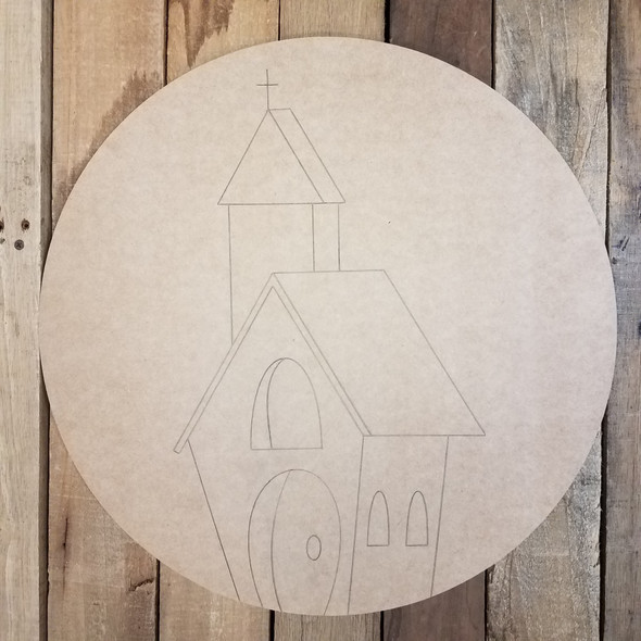 Church Building Circle Wooden Craft Shape